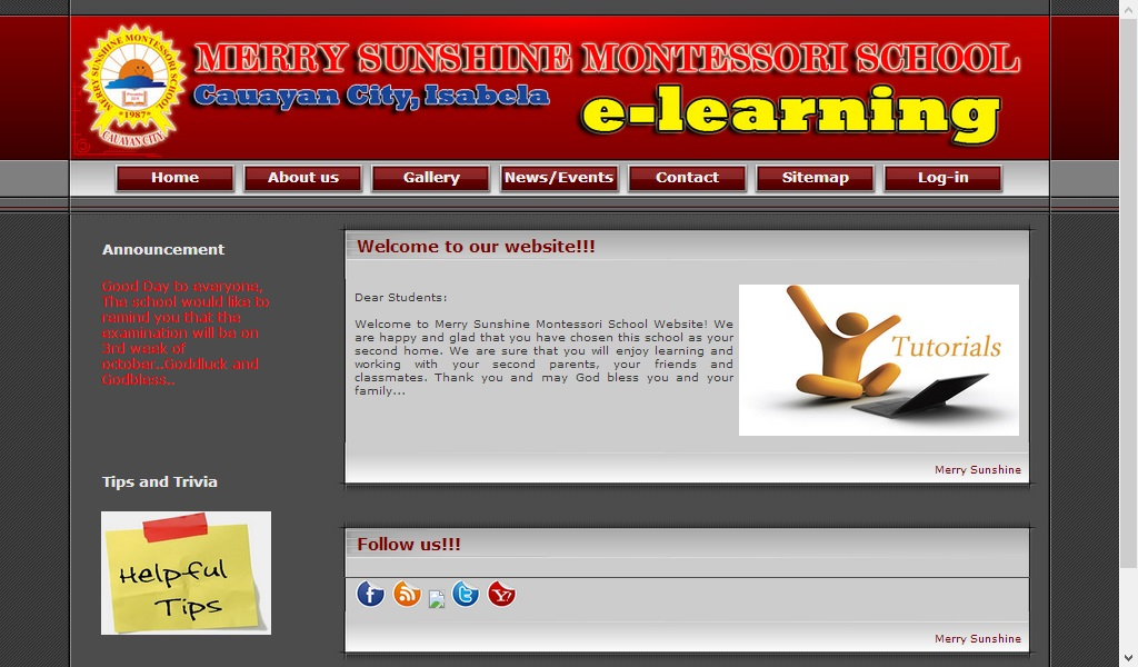 Merry Sunshine Elearning Site